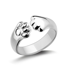 Women Cute Animal Cat Paw Claw Open Ring Silver Plated Finger Ring Jewelry Charm