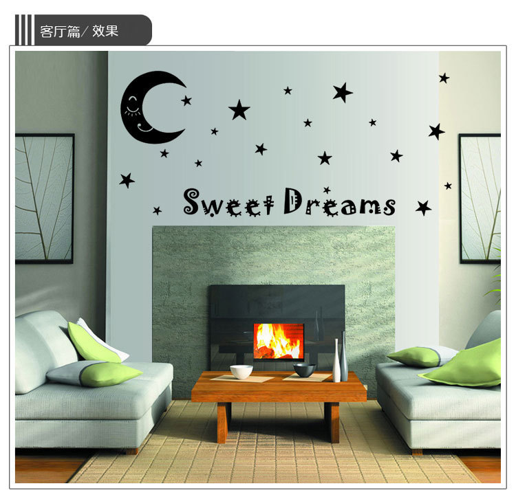Sweet Dream Star Moon Art For Bedroom Living Room Quotes Wall Decal DIY  Black Vinyl Wall Stickers Home Decoration Wall Sticker In Wall Stickers  From Home ...