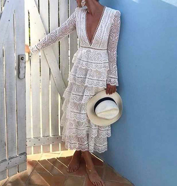 8cb88ef0a7a2 High Quality White Women/Ladies V-neck Lace Broderie Anglaise Hollow Out  Bayou Tiered Swirl Long Maxi Dress With Ruffled Detail