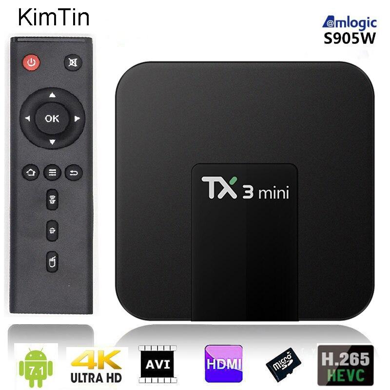 Amlogic Quad Core Android 7.1 TV BOX 2 GB 16 GB 1080 P HD lecteur multimédia vidéo YOUTUBE Google WIFI Mini lecteur HDD + télécommande