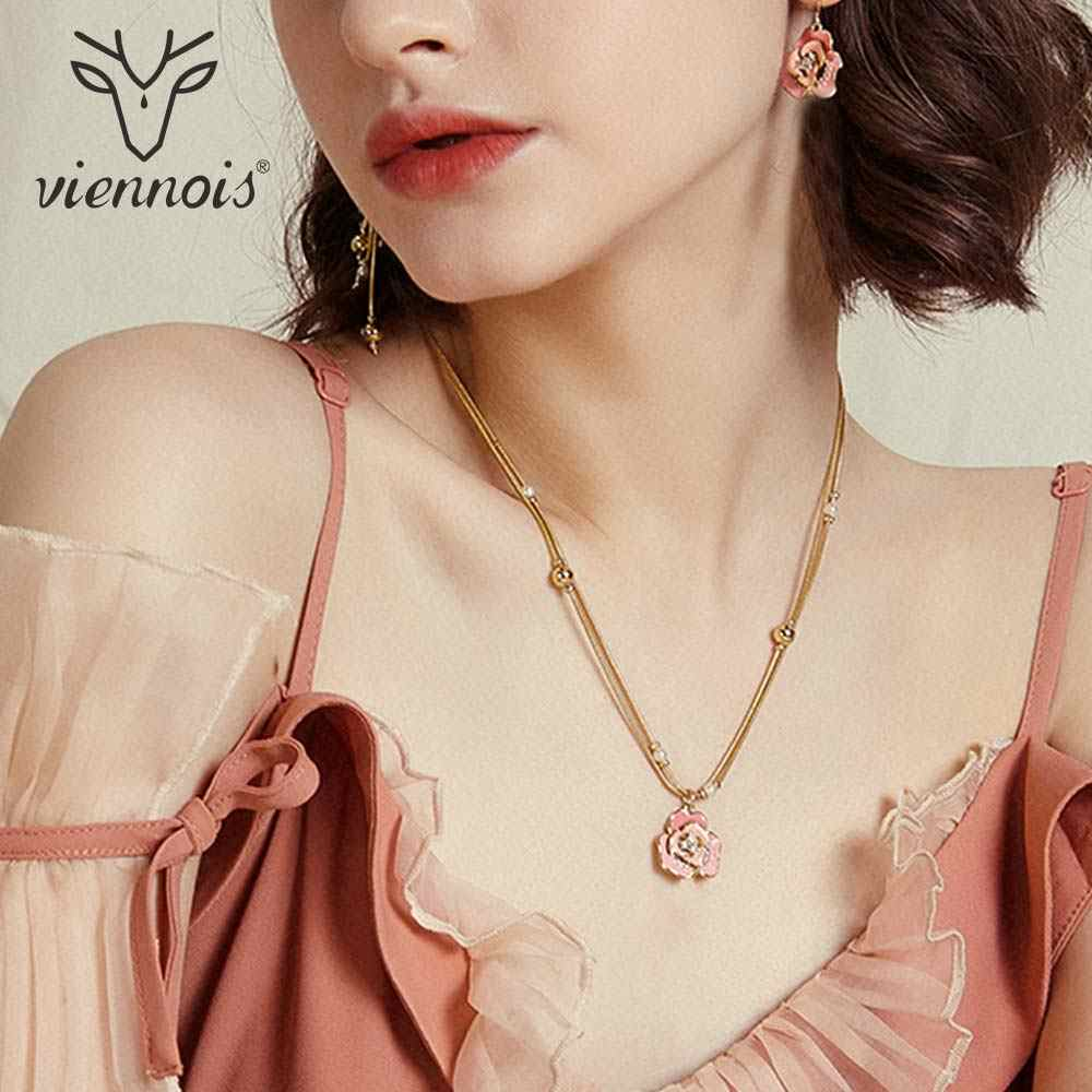 Viennois Fashion Jewelry Rose Gold Color Flower Rhinestone Pendant Necklace Crystal Gold Color Simulated Pearl Chain Necklaces