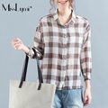 MissLymi M-XL Plus Size Women Loose Blouse 2017 New Spring Summer Casual Lattice Long Sleeve Cardigan Asymmetry Office Shirt