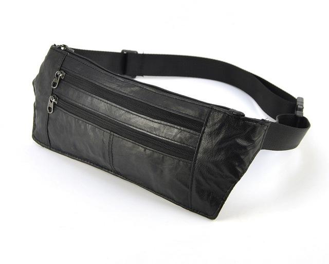 Mujeres de los hombres de Cuero Genuino de las Ovejas Delgada Cintura Pack Casual Fanny Cinturón Monedero Clásico Multi Bolsillo Con Cremallera Retro Vintage Bolsa bolsas