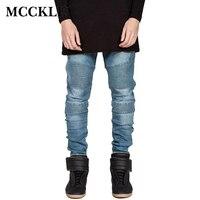 2015 Hi Street Mens Biker Jeans Motocycle Slim Fit Washed Pleated Elastic Black Grey Blue Moto