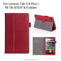 Official Original TAB3 8 Plus Leather Cover For Lenovo Tab 3 8 Plus TB 8703 TB