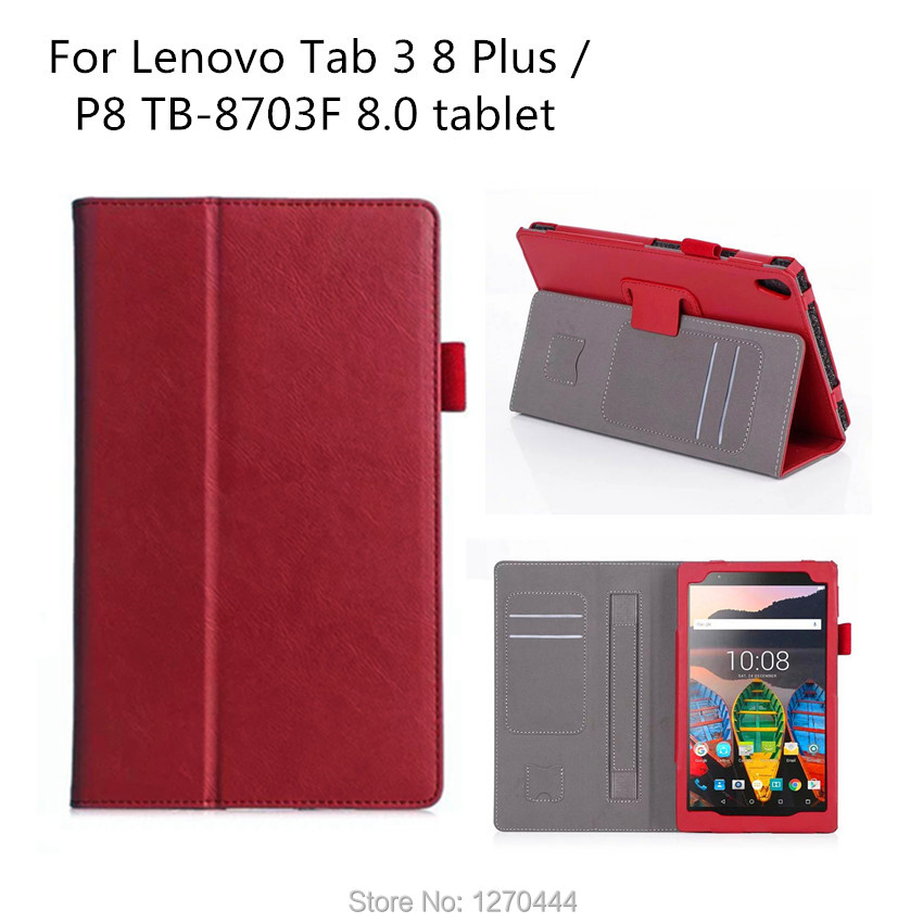 Official Original TAB3 8 plus Smart Leather Case For Lenovo Tab 3 8 Plus TB-8703 TB-8703F TB-8703N With Hand Strap and Card Slot original 3 5177986 8