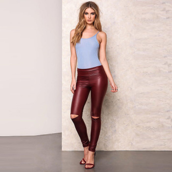 A Forever 2017 Spring Womens LeggingsTrend Fashion Sexy Slim Elasticity Long Pants High Waist  Knee Hole Pencil Pants AFF1046 2