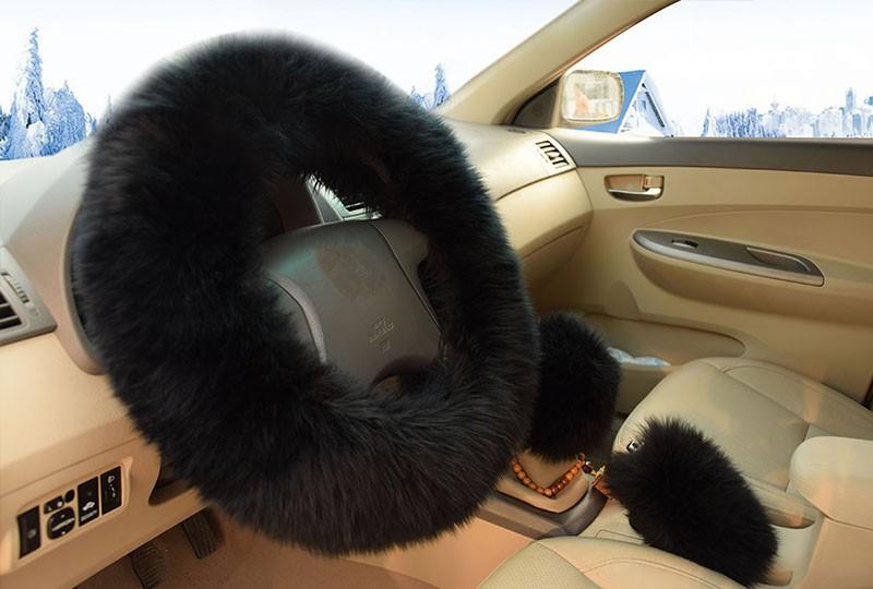 Winter Warm Wool Handbrake Cover Gear Shift Cover Steering Wheel Cover 38cm diameter 1 Set 3 Pcs 5