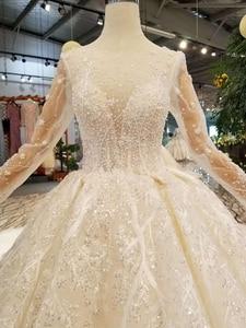 Image 5 - LSS156 לראות דרך חתונה שמלת אשליה o צוואר ארוך שרוולי תחרה עד בחזרה יופי vestidos דה novia baratos קון envio חנם