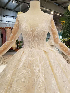 Image 5 - LSS156 see through wedding dress illusion o neck long sleeves lace up back beauty vestidos de novia baratos con envio gratis