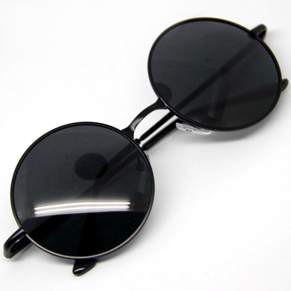 Unisex Goggles Steampunk Sunglasses Men Round Glasses Anti-UV400 Vintage Style Black/Tawny