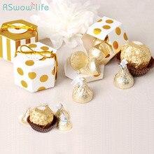 25pcs Small Hexagon Gift Box Hot Gold Carton Cute Karton Boxs For Wedding Candy Party Decoration Cajas De Regalo