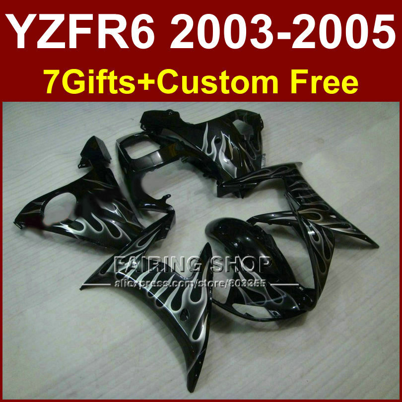 J54T White flame in black bodywork for YAMAHA R6 fairing kit 03 04 05 fairings YZF R6 2003 2004 2005 Motorcycle sets
