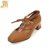 JK Ankle Strap Med Heel Women Pumps Spring Fashion Ladies Ballet Shoes Thick Square Heels Cross Tied Square Toe Shallow Footwear