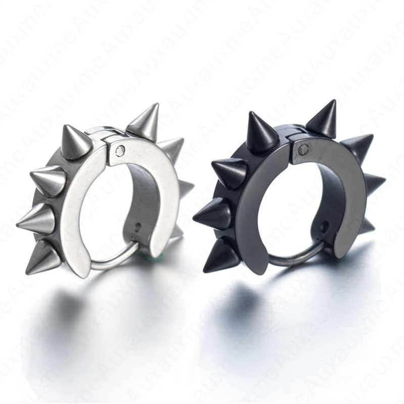Auxauxme (1 pcs/lot) Stainless Steel Punk Rivet Hoop Huggie Piercing Earrings For Women Men Hip Hop Ear Stud Black Silver Gold