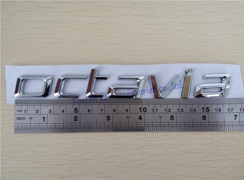 100 new for octavia word auto abs chrome rear trunk custom emblem 3d letter sticker badge car styling nameplate decal