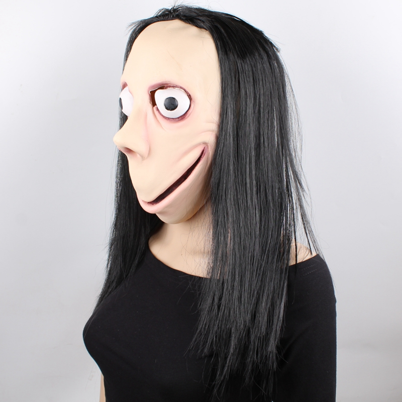 GNHYLL Momo Mask Hacking Game Horror Latex Mask Full Head Momo Mask Big Eye With Long Wigs Halloween Mask in Party Masks from Home Garden