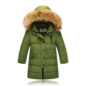 Image 3 - Модная детская куртка на утином пуху 2019, длинная толстая зимняя куртка с воротником из натурального меха, Детское пальто для девочек, теплая верхняя одежда для холодной зимы