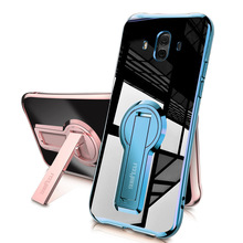 For Huawei Mate 10 Case Electroplated Transparent Stand Holder TPU Protective Cover with Holder for Huawei Mate 10 Pro Case
