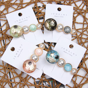 INS Gemstone Pearl Hair Clips For Girls Starry Sky Barrettes Crystal Bangs Small Fragrance