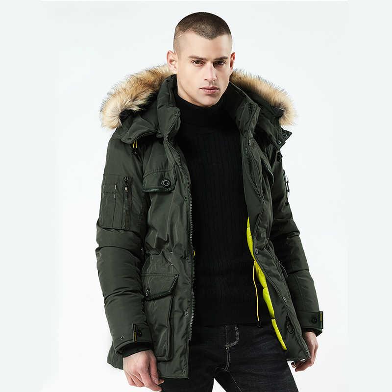Новая Толстая теплая зимняя куртка для мужчин Высокое качество парка с  капюшоном меховой воротник ветрозащитный зимнее f92d99b6acf