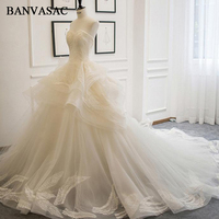 BANVASAC 2018 Strapless Embroidery Plus Size Ball Gown Wedding Dresses Real Photos Lace Tiered Chapel Train Bridal Dresses