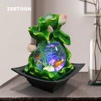 110 240 В фэн шуй орнамент lotus фонтан воды LED Стекло аквариум повезло хрустальный шар воды Особенности цветок горшок свадебный подарок