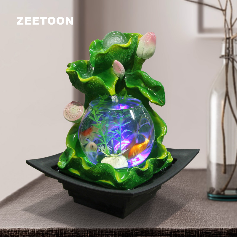 110 240V Feng Shui Ornament Lotus Water Fountain LED Glass Fish Tank Lucky Crystal Ball Water Features Flower Pot Wedding Gift