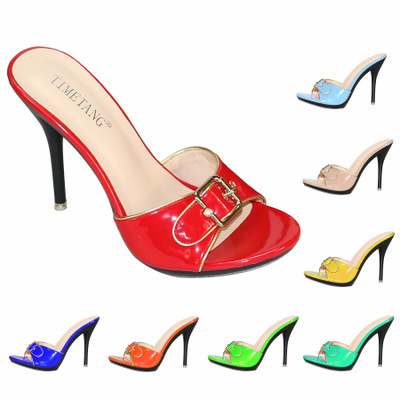 Candy Color Slippers Women Shoes Sexy Patent Leather High Heel 10.5CM Pointed Toe Sandals Shoes Women 2019 Female Wedding Shoes