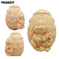 OBEDIENCE 3D Rabbit Easter Egg Silicone Handmade Soap Mold Crafts DIY MoldBakeware Cooking Decoration Cake Tools