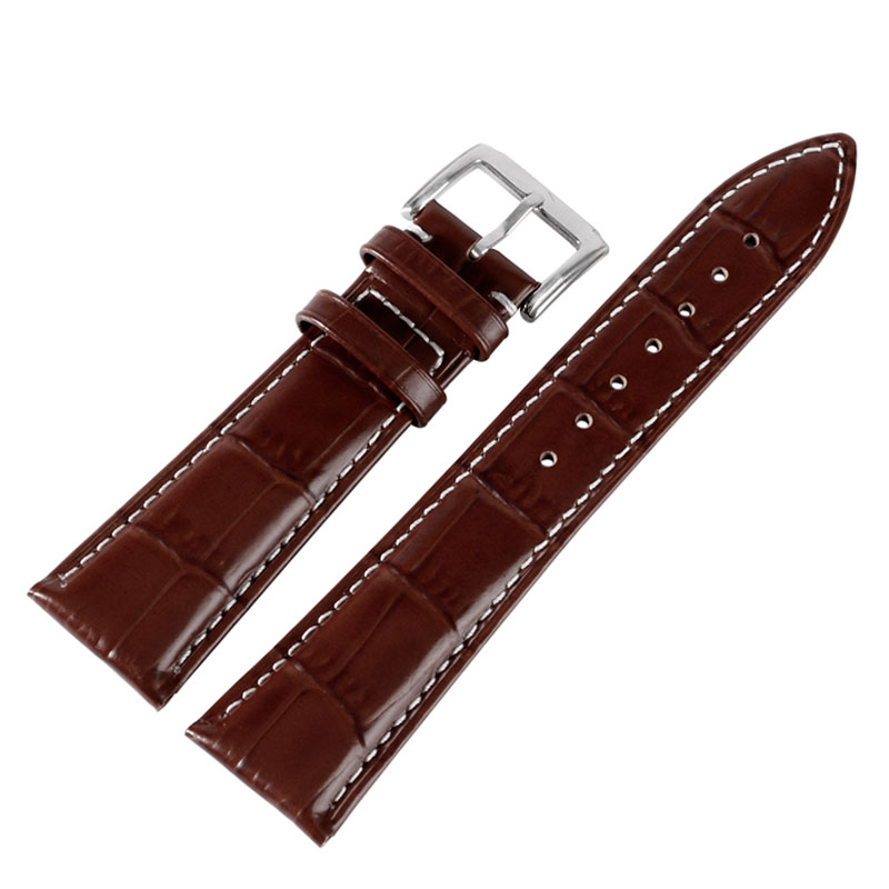 18mm 20 22mm Black Brown Genuine Leather Band Replacement Embossed Watch Band Strap Wrist Bracelet for Men Women + 2 Spring Bars 16mm genuine leather watch band for huawei talkband b3 moto 360 2 42mm women s butterfly buckle strap wrist bracelet black brown