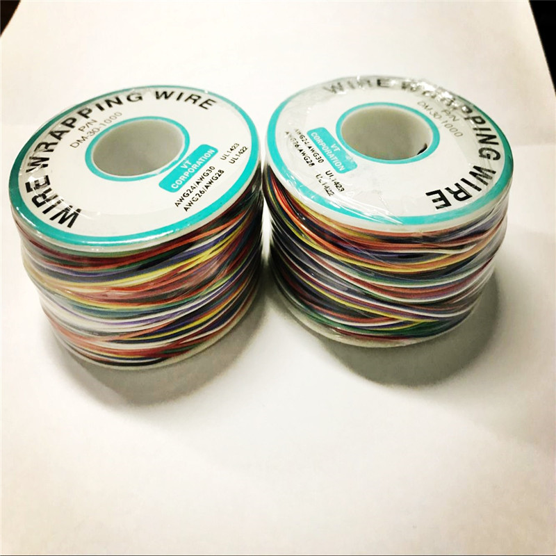 2pcs/lot 8 color Wrapping Wire Wrap Multicolor PCB Test Core Line AWG30 ok wire jumper wire free shipping wsu 30 wire wrap strip unwrap tool