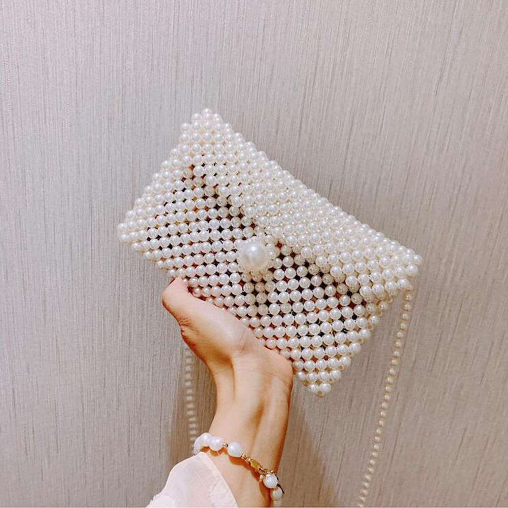 Brand Hand-woven Pearl Bags Lady Beaded Shoulder Bag Women Party Vintage Handbag Ins Small Flap Bag Mini Cross Body Bag 2019