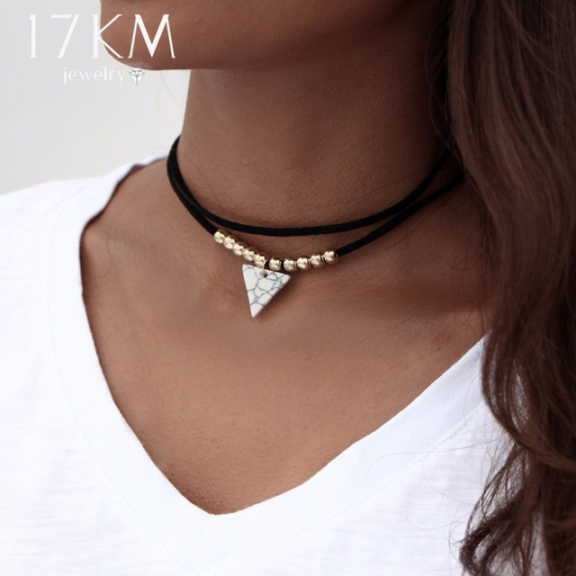 17KM Triangle Stone Choker Double Layer Unicorn Necklaces for Women Fashion  Beads Pendant Collier Leather Necklace Boho Jewelry 96fcb98fa8