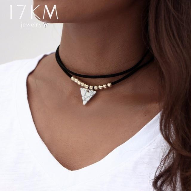 cf9e9ce8846 17KM Triangle Stone Choker Double Layer Unicorn Necklaces for Women Fashion  Beads Pendant Collier Leather Necklace Boho Jewelry