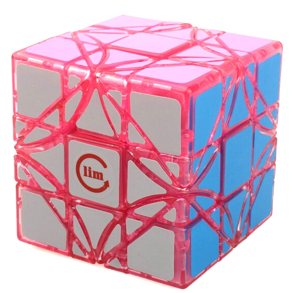 Brand New Limcube Dreidel Transparent Pink 65mm 3x3x3 Magic Cube Speed Puzzle Cubes (Limited Edition) Kids Toys funs fangshi limcube dreidel 3x3x3 magic cube puzzle black and white and pink learning