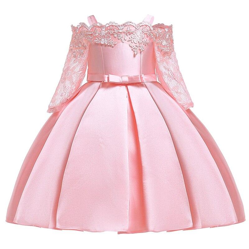Новинка; платье принцессы для дня рождения, банкета, банкета, с бретельками; кружевное платье с цветочным узором для девочек на свадьбу; праздничное платье с рукавами; vestidos - Цвет: pink