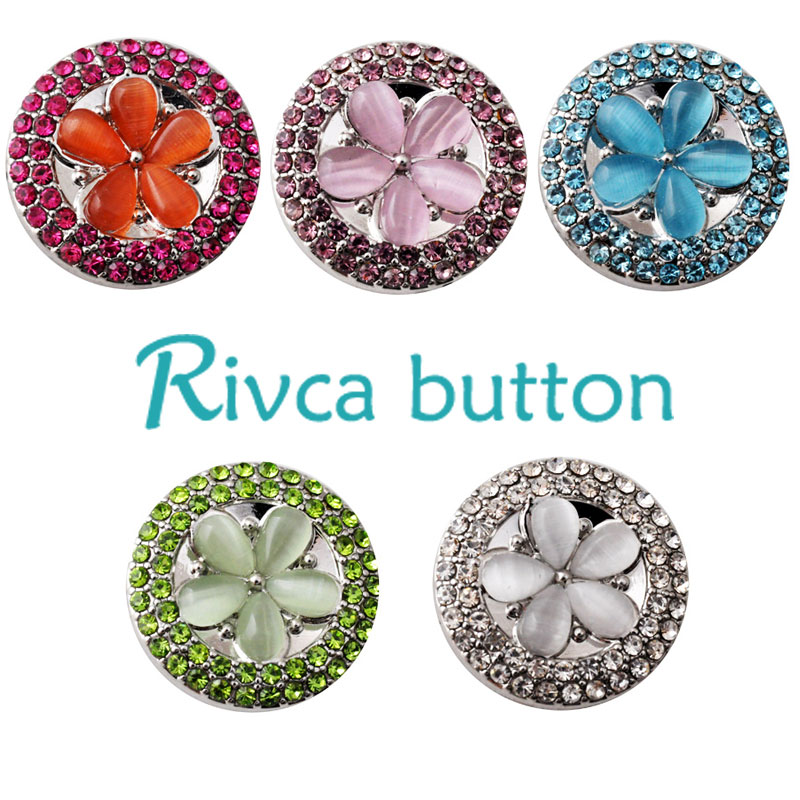 D02222 Hot Wholesale 6 Color High Quality Charm Rhinestone Styles Alloy Ginger Snap Button Bracelets Woman Rivca Snaps Jewelry