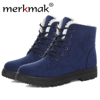 Merkmak Classic Women Winter Boots Suede Ankle Snow Boots Female Warm Fur Plush Insole High Quality