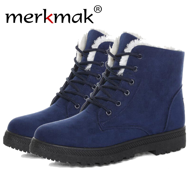 Merkmak Classic Women Winter Boots Suede Ankle Snow Boots Female Warm Fur Plush Insole High Quality Plus Size Lace-Up Drop Ship designer women winter ankle boots female fur lace up snow boots suede plush sewing botas