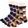 RioRiva 4Pairs/lot US 7-11/EU 39-45 Men Classic Grid Formal Dress  Socks Mid Calf Cotton Blend Gift Box Brand Pattern Socs Sox