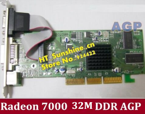 Free Shipping  Brand New ATI Radeon 7000 32M DDR VGA/DVI/TVO AGP low-end AGP Graphic Card High Quality dhl ems free shipping new ati radeon 9550 256mb ddr2 agp 4x 8x video card from factory 50pcs lot