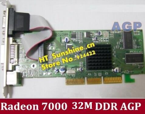Livraison gratuite tout nouveau ATI Radeon 7000 32 M DDR VGA/DVI/TVO AGP carte graphique AGP bas de gamme de haute qualité