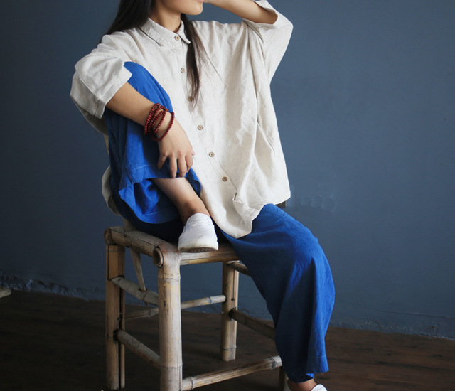 Women White Linen loose shirts long sleeve turn down collar blouse casual Plus Size blusas Feminine Blouse Retro Shirt Camisas 3