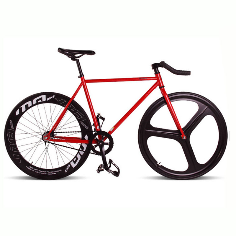 Magnesium Alloy Wheel 3 spokes fixie Bicycle, Fixed gear bike 700C *23 70mm Rim 52cm FRAME DIY BIKE Complete Road Bike 53cm 55cm 58cm fixed gear bike frame matte black bike frame fixie bicycle frame aluminum alloy frame with carbon fork