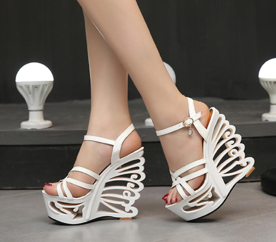 High Quality Buckle Strap Sexy Strange Style Heel Summer Women Shoes Retro Novelty Sandals 15cm High Heels Nightclub Shoes