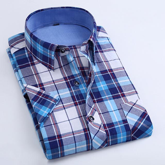 Camisas Dos Homens de Moda de Verão de Manga curta Camisa Casual Xadrez camisa masculina