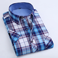 Short Sleeve Summer Men Shirts Fashion Plaid Casual Shirt camisa masculina