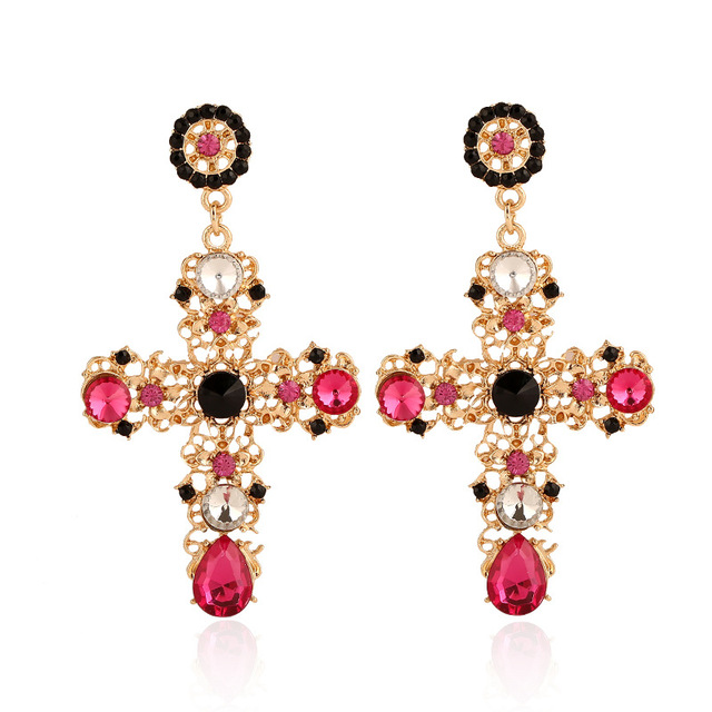 New Arrival Vintage Black Pink Crystal Cross Drop Earrings for Women Baroque Bohemian Large Long Earrings.jpg 640x640 - New Arrival Vintage Black Pink Crystal Cross Drop Earrings for Women Baroque Bohemian Large Long Earrings Jewelry Brincos 2020
