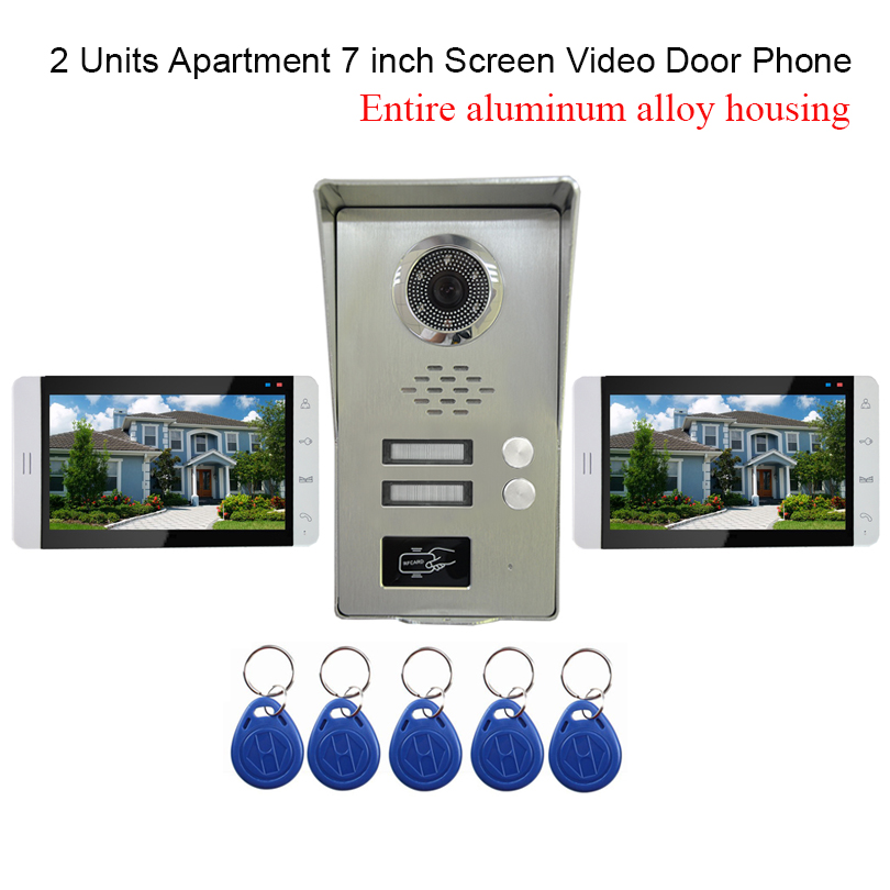 2 Units Apartment Intercom System Video Door Phone Intercom All Aluminum Alloy Camera 7